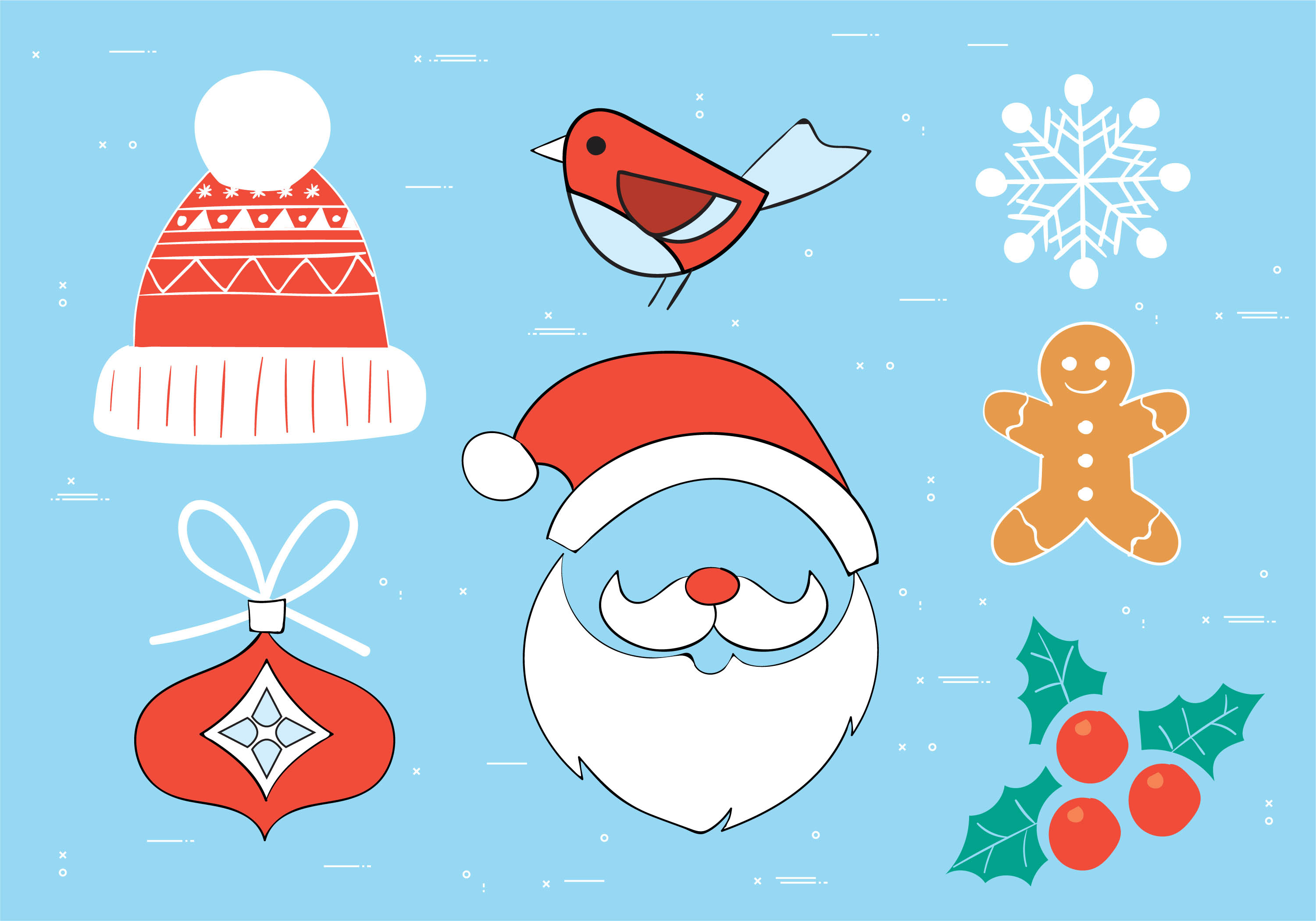 Free Hand Drawn Vector Christmas Elements Download Free