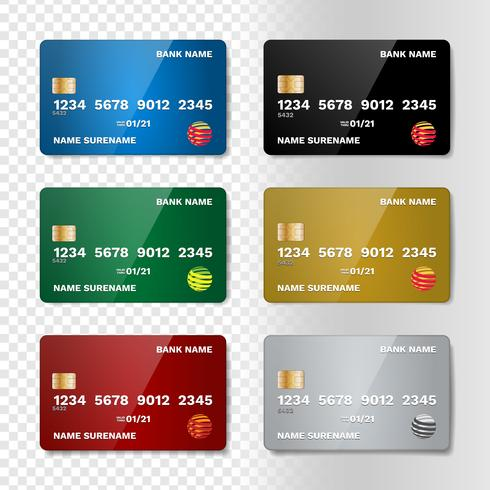Realistic Credit Card Set - Download Free Vector Art, Stock Graphics