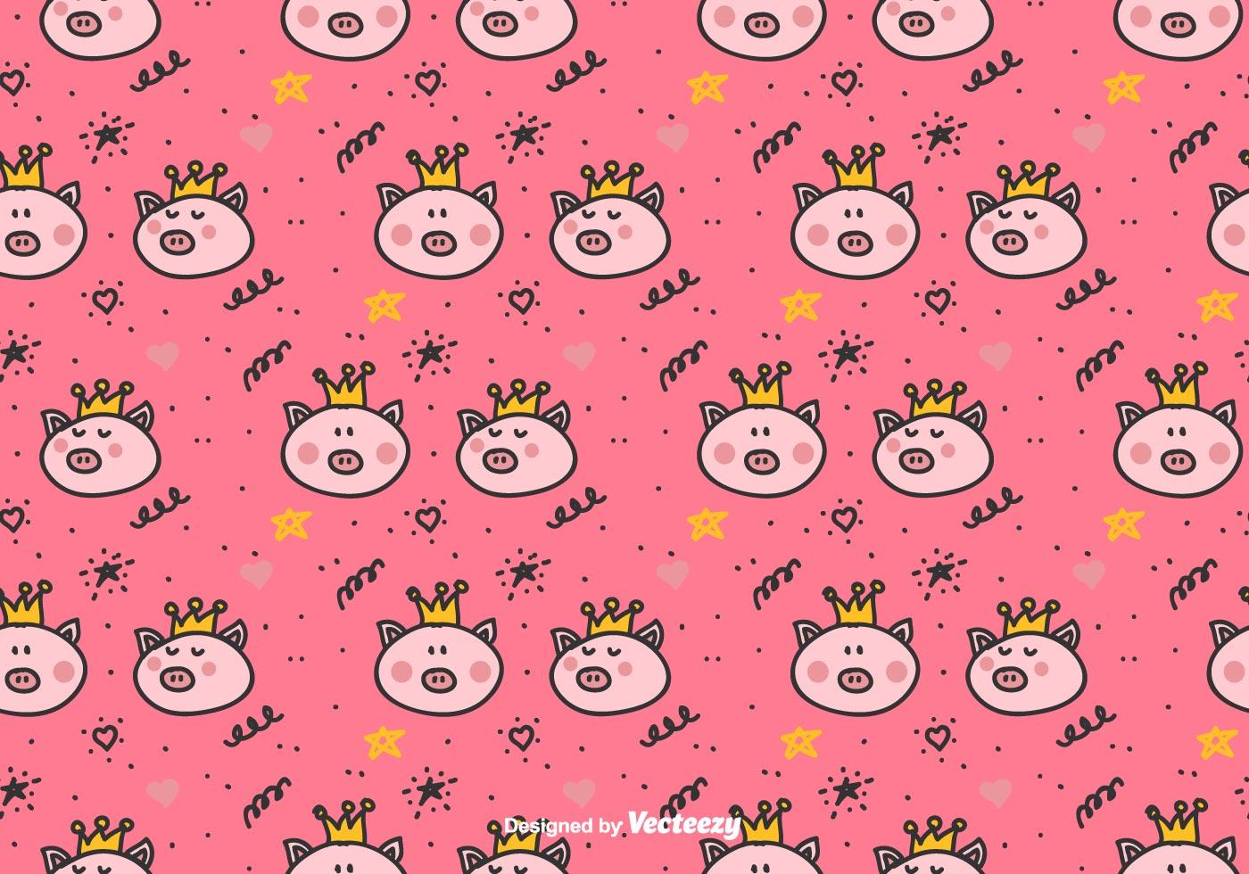 Cute Baby Pig Wallpaper Princess Pigs Vector Pattern Download Free Vector Art
