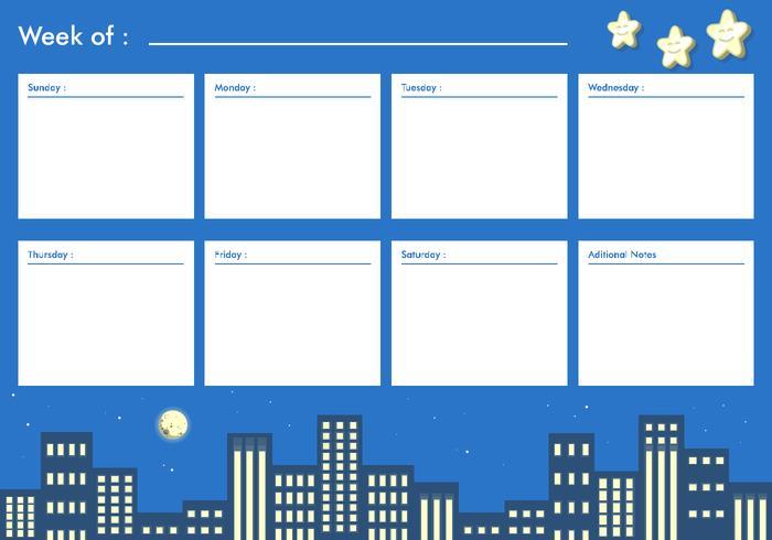 Night City Printable Weekly Calendar Free Vector - Download Free - printable weekly calendar