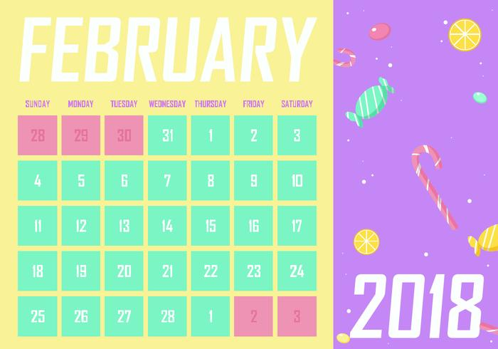 February Printable Monthly Calendar Free Vector - Download Free