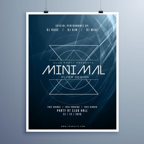 minimal elegant music flyer template in blue color with abstract - music flyer template