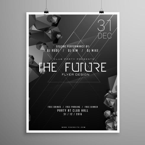 stylish minimal darl flyer template with event details - Download - black and white flyer template