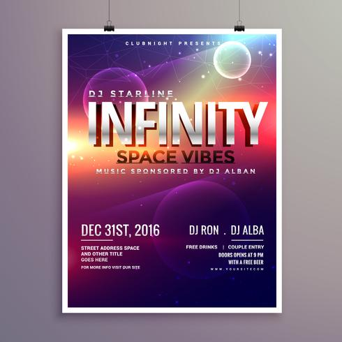 space universe style music flyer template with event date - Download