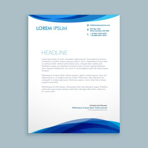 wave style modern letterhead template vector design illustration