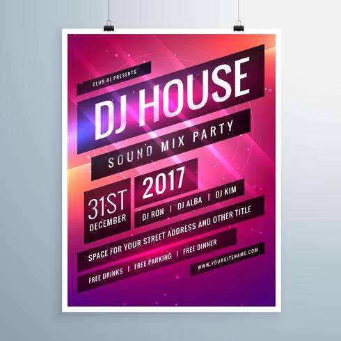 music sound party event flyer template in abstract pink backgrou