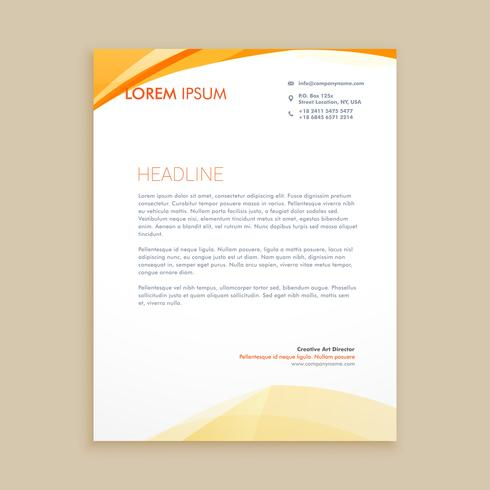 wavy business letterhead template vector design illustration