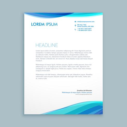 business wave letterhead template vector design illustration