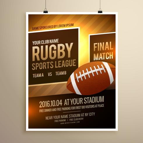 rugby sports flyer design template - Download Free Vector Art, Stock