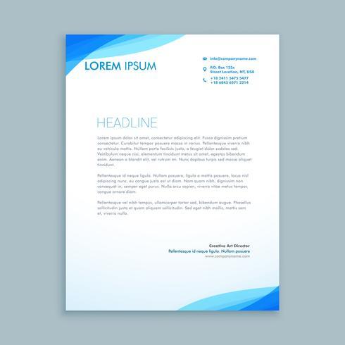 corporate blue wave letterhead template vector design illustrat