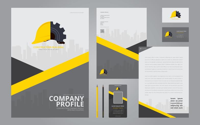 Construction Logos in Stationery Set Media Construction Company - free profile templates