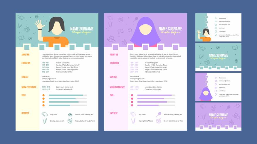 Graphic Designer Resume Template Vector - Download Free Vector Art