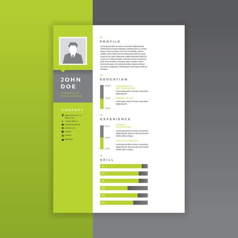 Graphic Designer Resume Green Vector - Download Free Vector Art