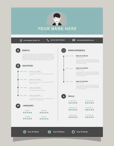 Corporate Resume Template - Download Free Vector Art, Stock Graphics - corporate resume template