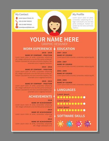 graphic designer resume Template - Download Free Vector Art, Stock