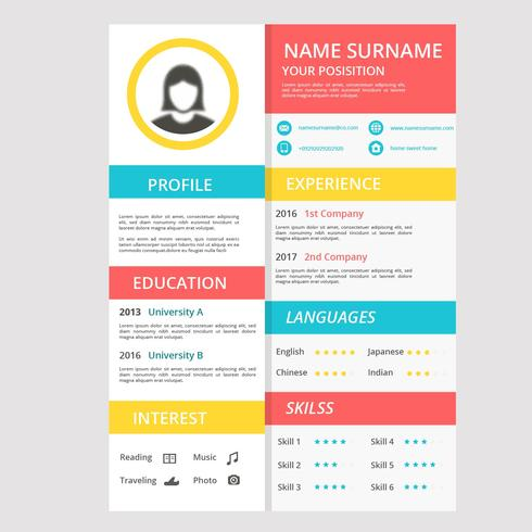 Flat Color Full Cv or Resume Company - Download Free Vector Art - company resume