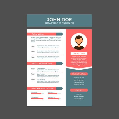 Graphic Designer Resume, A4 Size - Download Free Vector Art, Stock