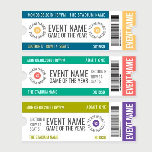 Vector Sporting Event Tickets - Download Free Vector Art, Stock