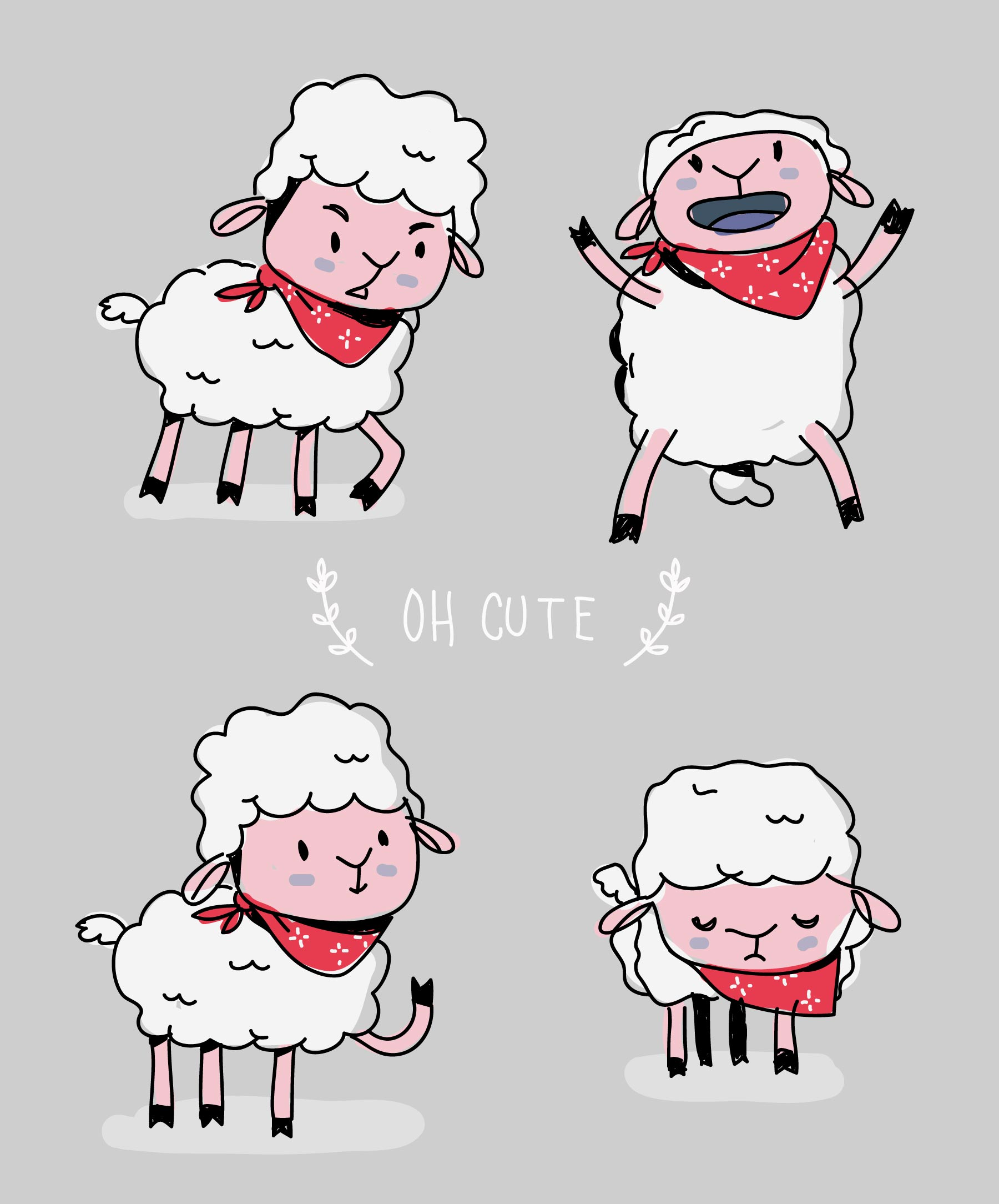 Cute Sheep Drawing Tumblr Cute Sheep Character Doodle Vector Illustration Download