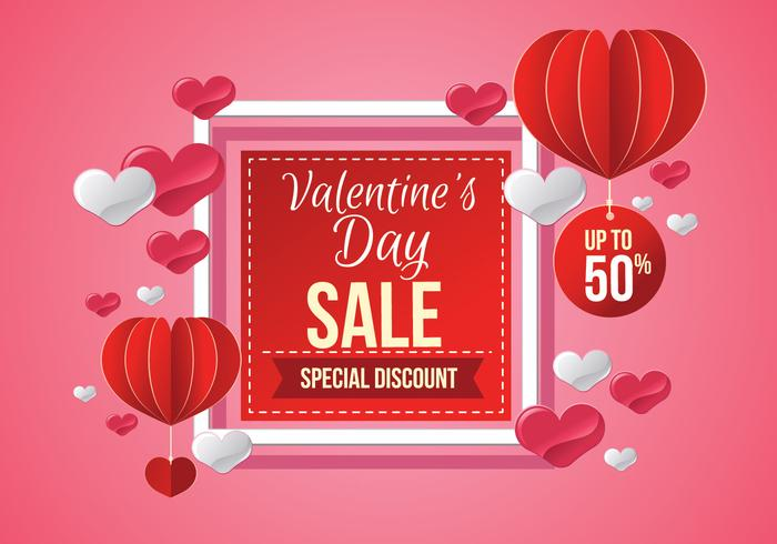 Valentines Day Sale, Poster Template Vector Illustration - Download