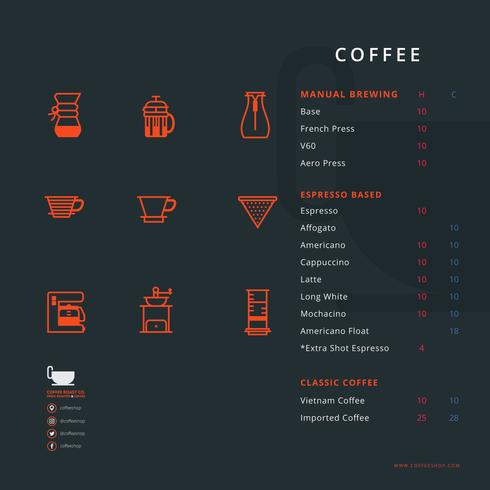 Coffee Shop Menu with Coffee Tools Equipment - Download Free Vector