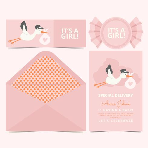 Vector Pink Baby Announcement Card - Download Free Vector Art, Stock
