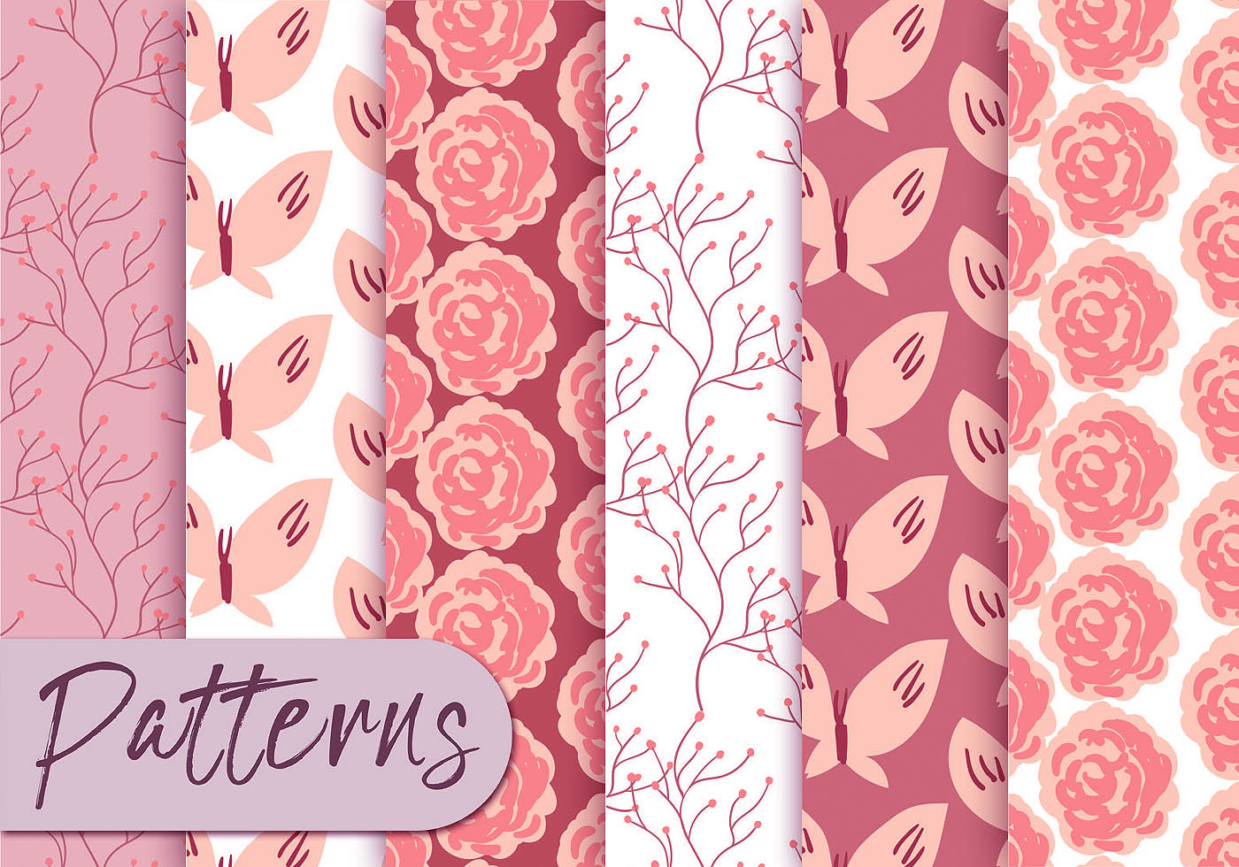 Cute Wallpapers Green Mint Soft Pink Roses Pattern Set Download Free Vector Art