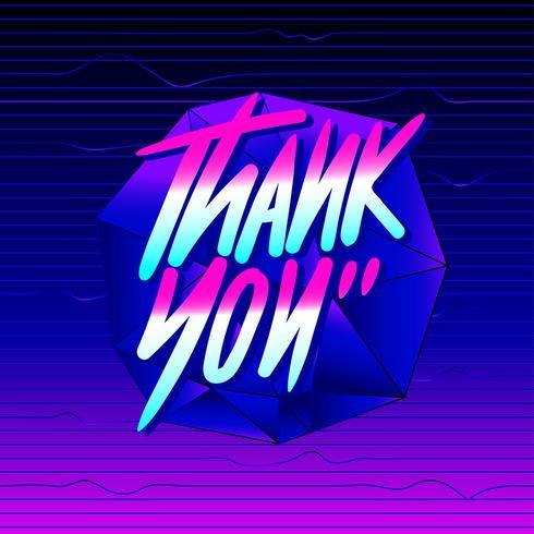 Thank You Typography Vaporwave Vector - Download Free Vector Art