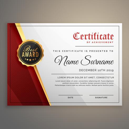 beautiful certificate template design with best award symbol