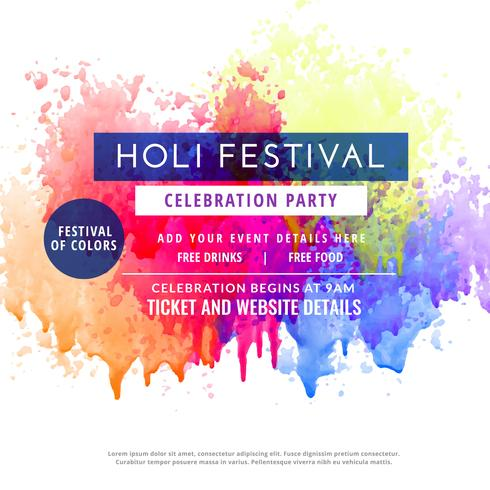happy holi party invitation template flyer - Download Free Vector