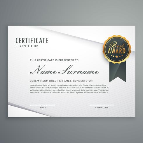 modern minimal style certificate of appreciation template with b