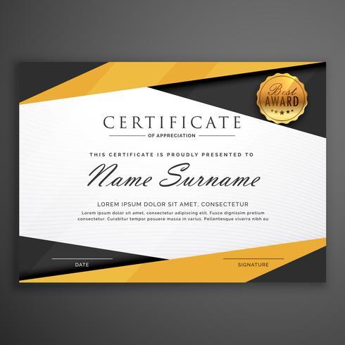 yellow and black geometric certificate award design template
