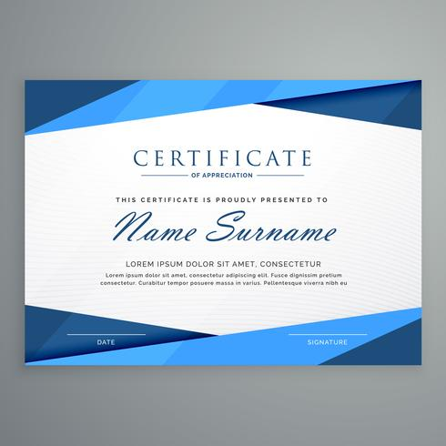 modern blue triangle certificate template - Download Free Vector Art - certificate templat
