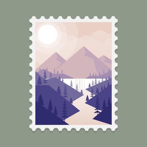 Alaska Mountain Landscape Stamp Template Illustration - Download - stamp template