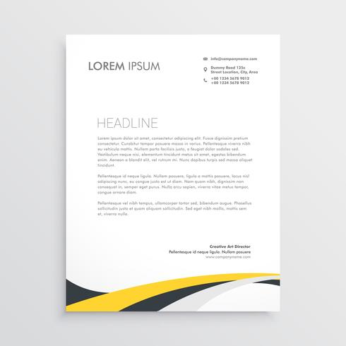 elegant yellow and gray waves letterhead design template - Download