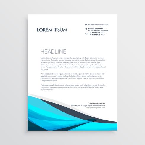 blue wavy letterhead design template - Download Free Vector Art