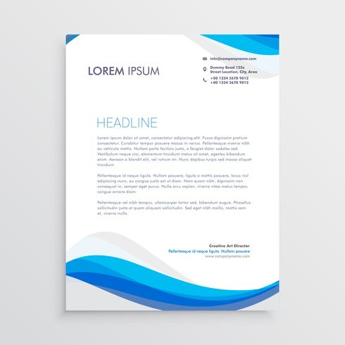 business blue wave style letterhead template - Download Free Vector