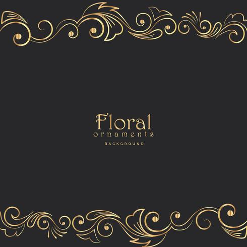 beautiful golden floral border on black background - Download Free - black border background