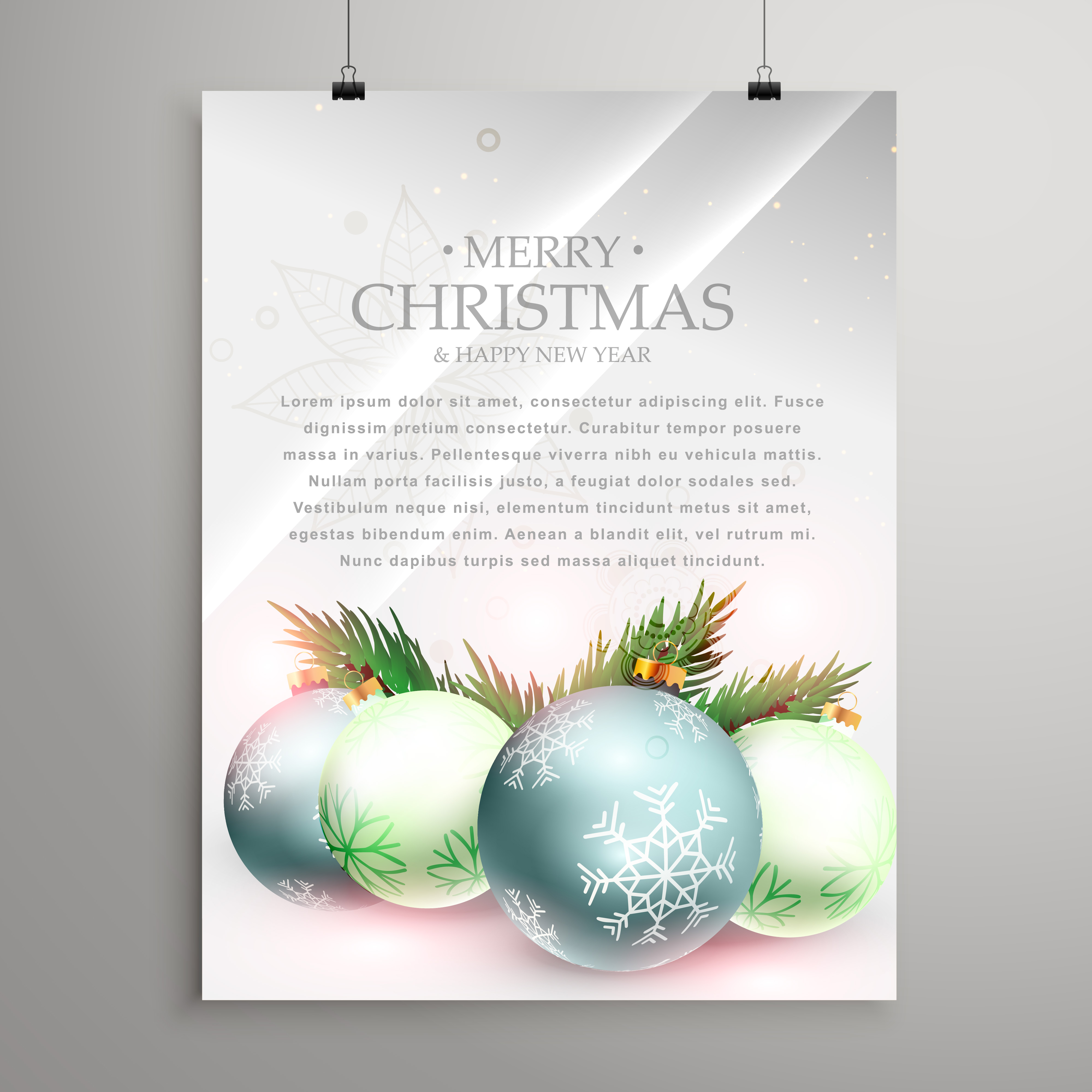 Invitation Template Christmas Party Christmas Greeting Card Template Flyer With Realistic