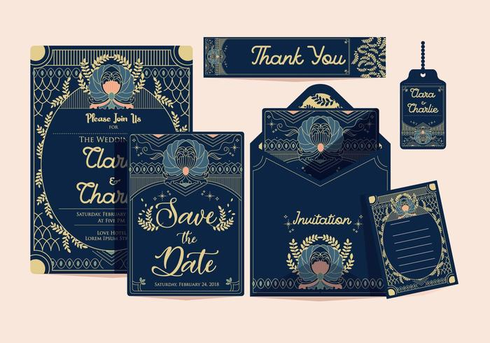 Art Deco Wedding Invitation Classic Vector - Download Free Vector