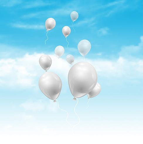 Balloons floating in a blue sky with fluffy white clouds - Download