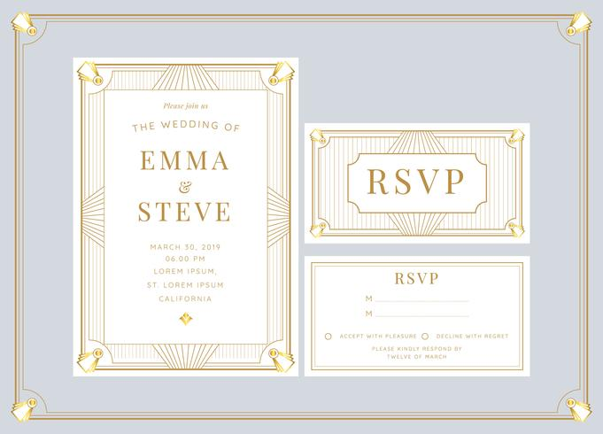White Gold Art Deco Wedding Invitation Template Vector - Download
