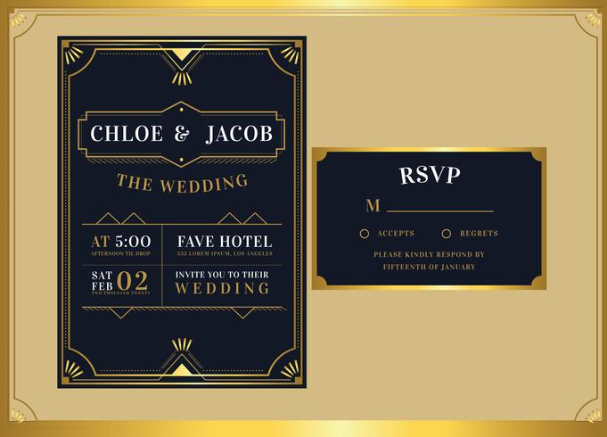 Black Gold Art Deco Wedding Invitation Template Vector - Download