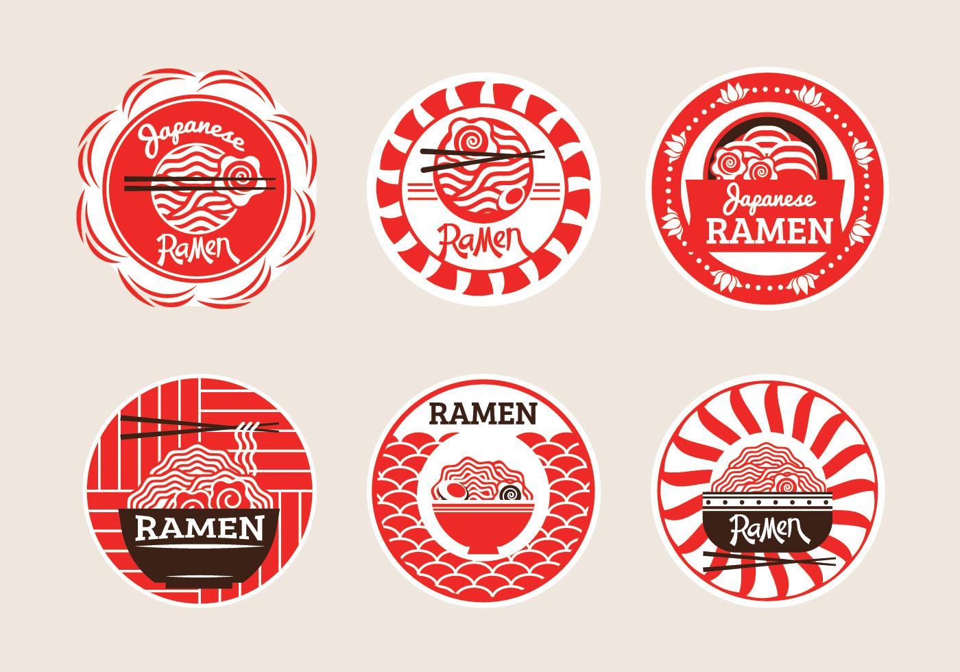 Cute Noodles Japanese Wallpaper Set Of Japanese Ramen Badge Illustration In Yellow