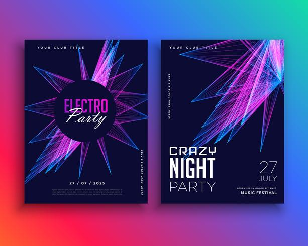electro party music flyer template invitation - Download Free Vector