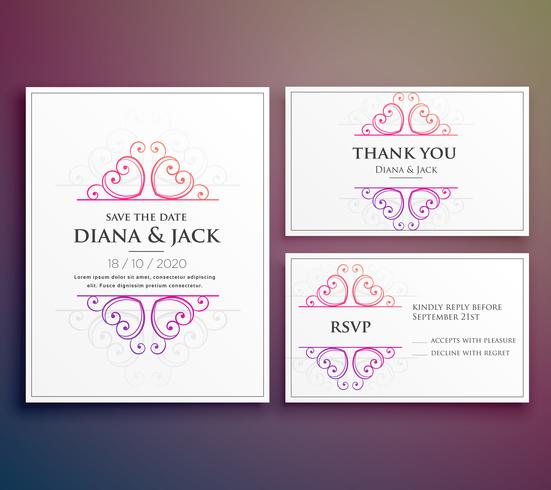 wedding card invitation design with thank you card - Download Free
