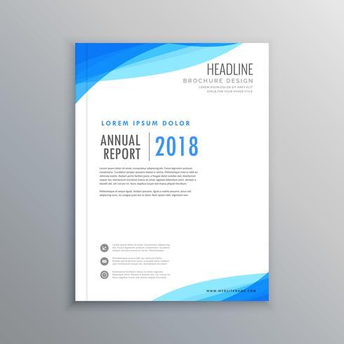 elegant blue wave business brochure template - Download Free Vector