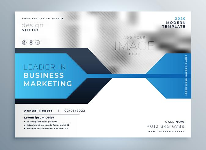 stylish blue business flyer design presentation template - Download