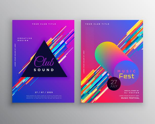 abstract vibrant music party club flyer template design set - club flyer background