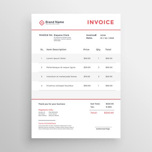 minimal business invoice template design - Download Free Vector Art
